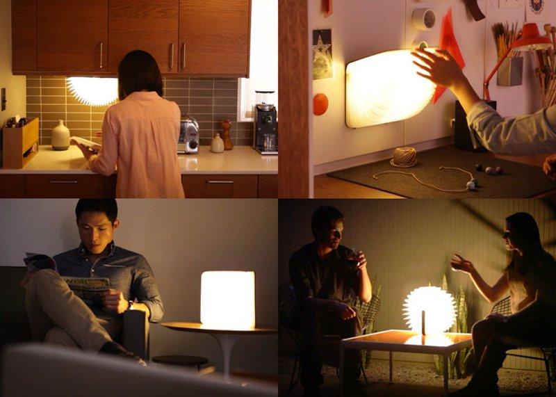 Vielfältige Einsatzmöglichkeiten der Lampe Lumia in Buchform: Zusammengeklappt lässt sie sich auch noch leicht transportieren.