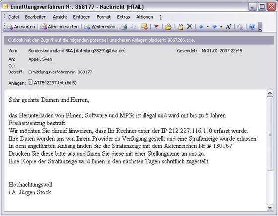 Gefälschtes BKA-Anschreiben mit Schadsoftware im Anhang: Der Trojaner wurde am 1. Februar vergangenen Jahres massenhaft verschickt.