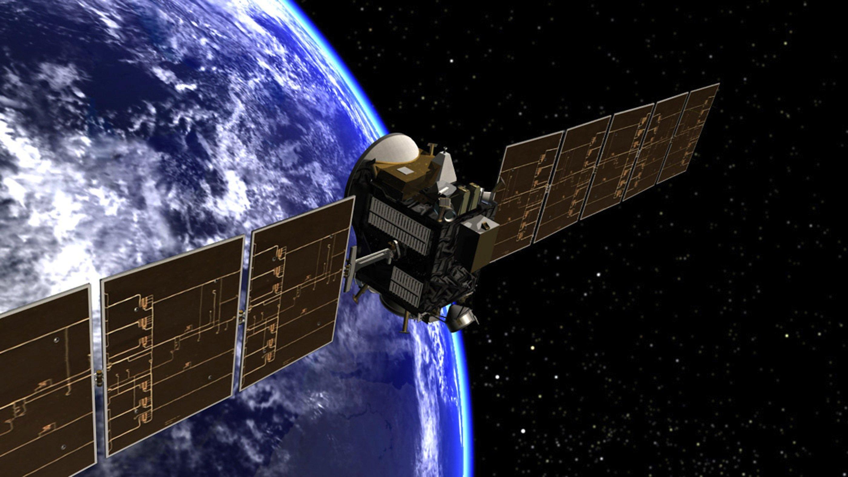 Künstlerische Darstellung der Dawn-Sonde beim Verlassen der Erdumlaufbahn: Die beiden baugleichen