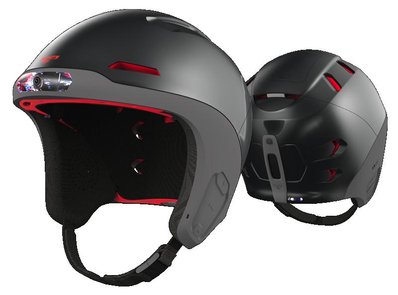 Die HD-Kamera ist direkt in den Helm integriert. Anders als bei einer aufgesteckten Kamera wird sie dadurch bei einem Unfall nicht zum Verletzungsrisiko.