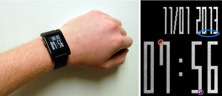 Forscher der University of Michigan haben eine App für die Pebble-Smartwatch entwickelt, mit der sich bei Prüfungen schummeln lässt. Allerdings muss man die kleinen Pünktchen (rechts im Bild eingekreist) auch richtig deuten können.