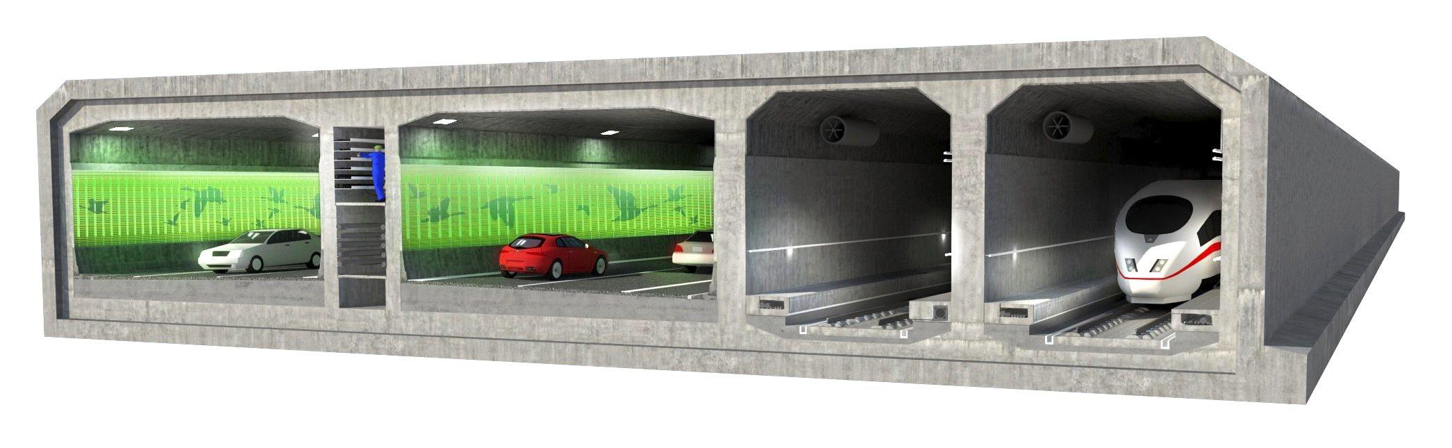 Der Tunnel durch den Fehmarnbelt im Querschnitt: Auto- und Bahntunnels liegen direkt nebeneinander.