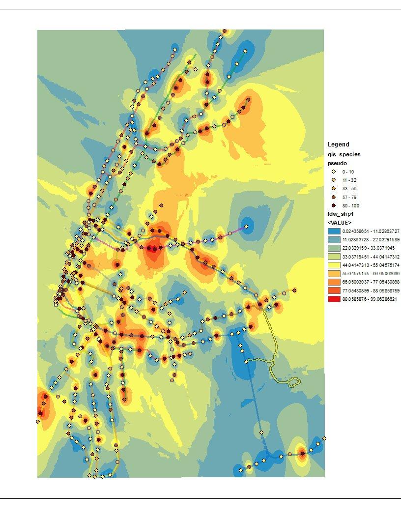 Auf dieser Karte ist Häufigkeit von Bakterien der Gattung Pseudomonas im New Yorker U-Bahn-Netz dargestellt.