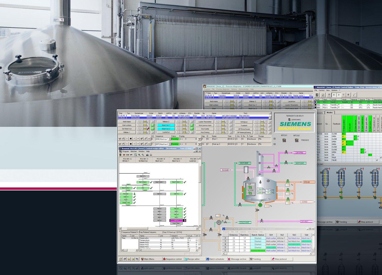 Braumat hat alles beim Bierbrauen im Blick: Die Siemens-Technologie vereint Technik für Energieversorgung, Automatisierung und Prozesssteuerung des gesamten Bierherstellungsprozesses. Das umfasst auch die Abfüllung, Lagerung, Reinigung und die Kühlung. Als Vorteile werden von Siemens Energieeffizienz, Flexibilität in der Produktion und eine konstant hohe Produktqualität genannt.
