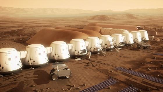 Die ersten Siedler auf dem Mars sollen ab 2025 in einem Containerdorf auf dem roten Planeten leben.