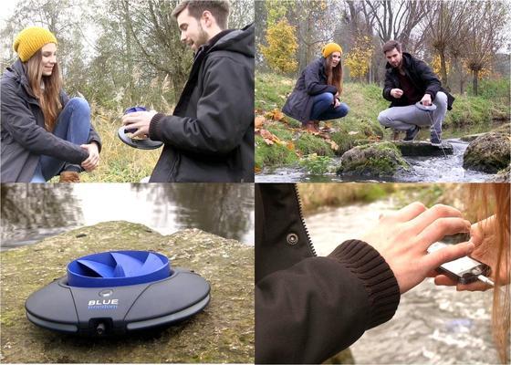 """Das mobile <link target=""""_blank"""" class=""""extern"""" url_id=""""13422"""">Wasserkraftwerk Blue Freedom</link> holt aus jedem Fließgewässer elektrische Energie heraus. Es genügt, den kleinen Rotor ins Wasser zu werfen, um Strom zu erzeugen. Ein Smartphone lässt sich innerhalb einer Stunde aufladen."""