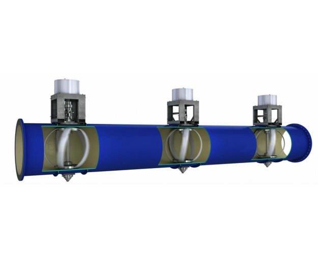 Die Durchflussgeschwindigkeit des Wassers wird laut Hersteller durch die zwischengeschalteten Turbinen nicht nennenswert verlangsamt.