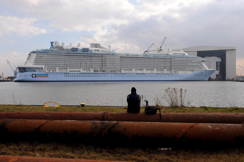 Am Morgen danach: Die Anthem of the Seas nach dem Ausdocken in Papenburg.