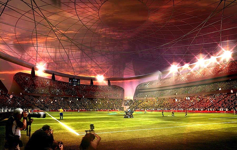Das Lusail Iconic Stadion: Tagsüber verwandeln Solarkollektoren auf dem Dach und Kälteabsorptionsmaschinen Sonnenenergie in Kälte, die sich unter dem Rasen speichern lässt. Abends lässt sich das Dach öffnen. Ventilatoren pusten die kalte Luft in die Höhe, sodass sie über Publikum und Spielern niedersinkt.