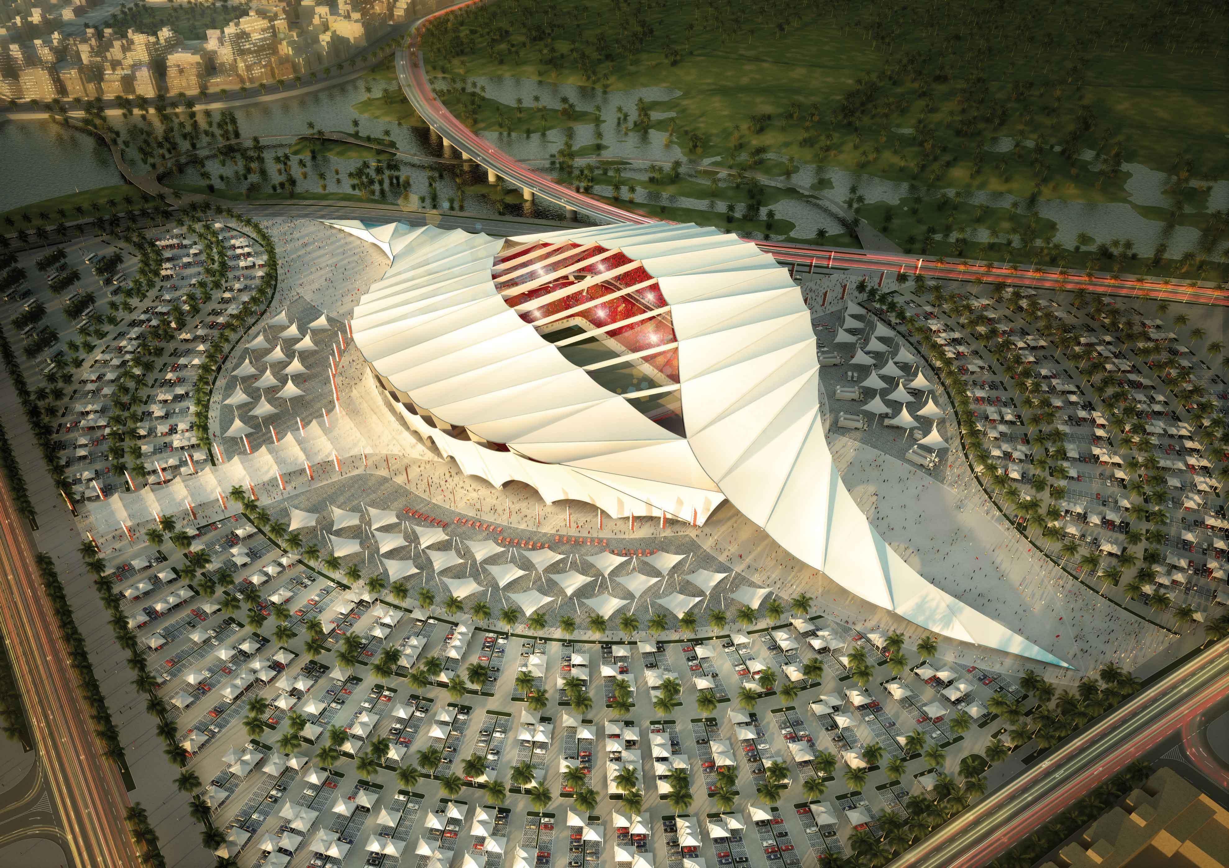 Das Al-Khor Stadion erinnert an die Zelte der katarischen Nomaden und bietet 60.000 Besuchern Platz.