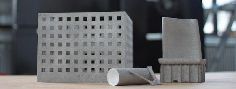 Bauteile aus dem neuen 3D-Metalldrucker, die an der TU Freiberg bereits probeweise hergestellt worden sind.