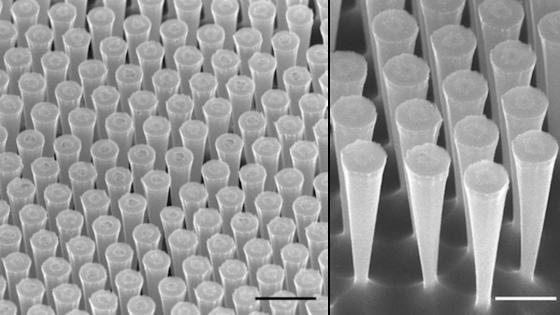 Die Forscher ätzten nur zwei Mikrometer lange Trichter in das Silizium-Substrat. Das Ergebnis: Der Wirkungsgrad der Solarzelle erhöht sich, sie absorbiert 65 Prozent mehr Licht.