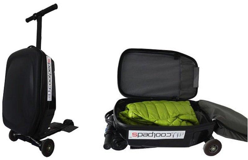 Wenn der Besitzer auf seinem Koffer nicht fahren möchte, kann er den Elektroroller zusammenklappen. Das Gefährt wiegt 7,9 Kilogramm und kostet 599 US-Dollar.
