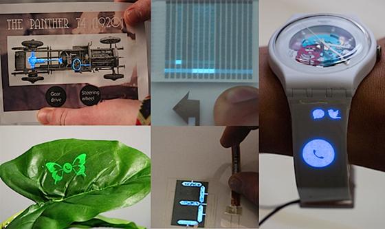 Anwendungen für das ausdruckbare Display scheint es genügend zu geben: Es könnte die Pflanze zum Leuchten bringen, wenn ein Anruf auf dem Computer eingeht, Postkarten neues Leben einhauchen oder beleuchtete Funktionstasten auf Armbanduhren ermöglichen.