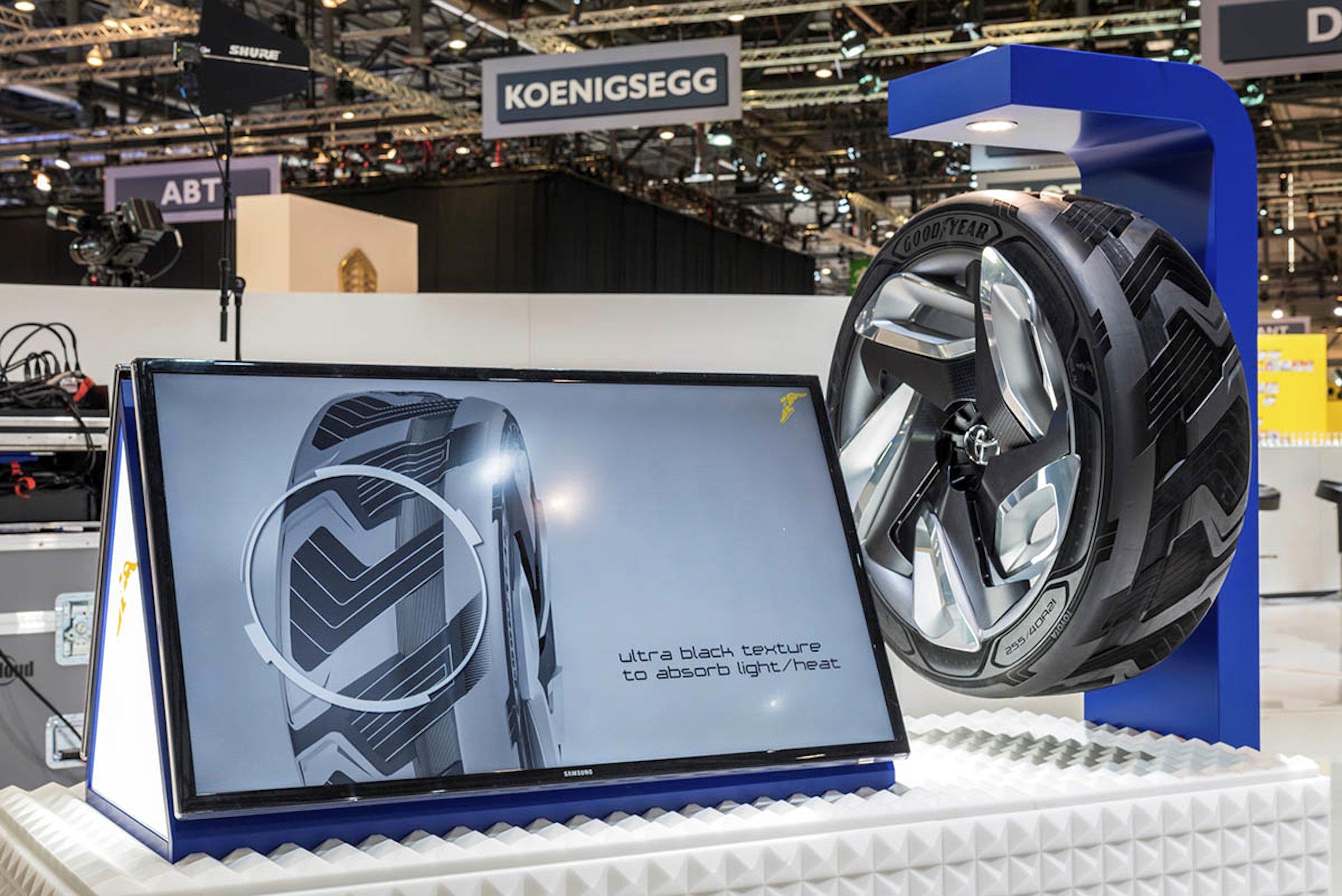 Goodyear-Reifen BH03 auf dem Autosalon in Genf: Der Strom produzierende Reifen soll zunächst nicht in Produktion gehen.