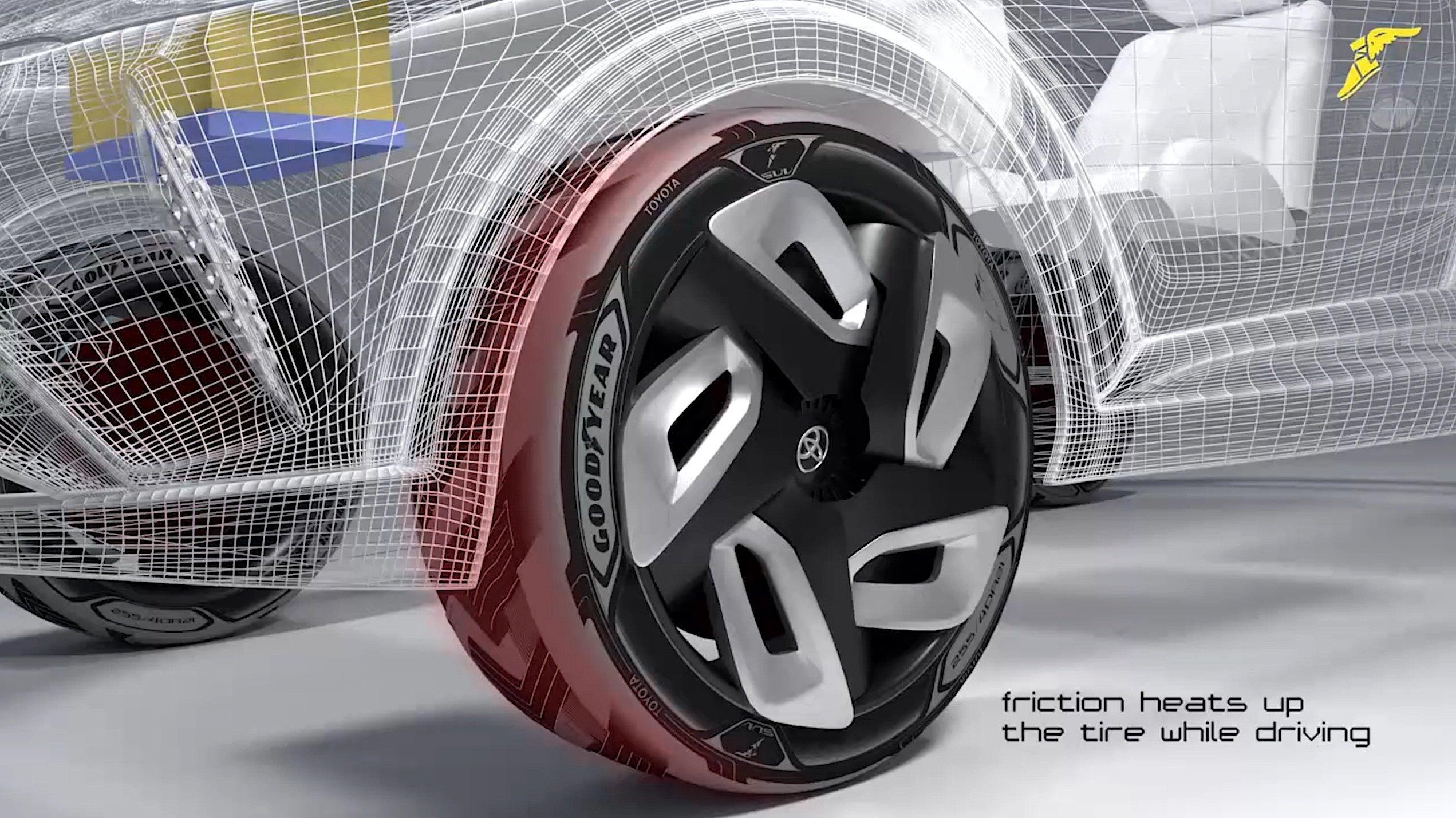 Der auf dem Autosalon in Genf vorgestellte Konzeptreifen von Goodyear kann auch im Stand nur aus der Wärme der Sonneneinstrahlung Strom erzeugen. Deshalb ist er besonders schwarz eingefärbt.