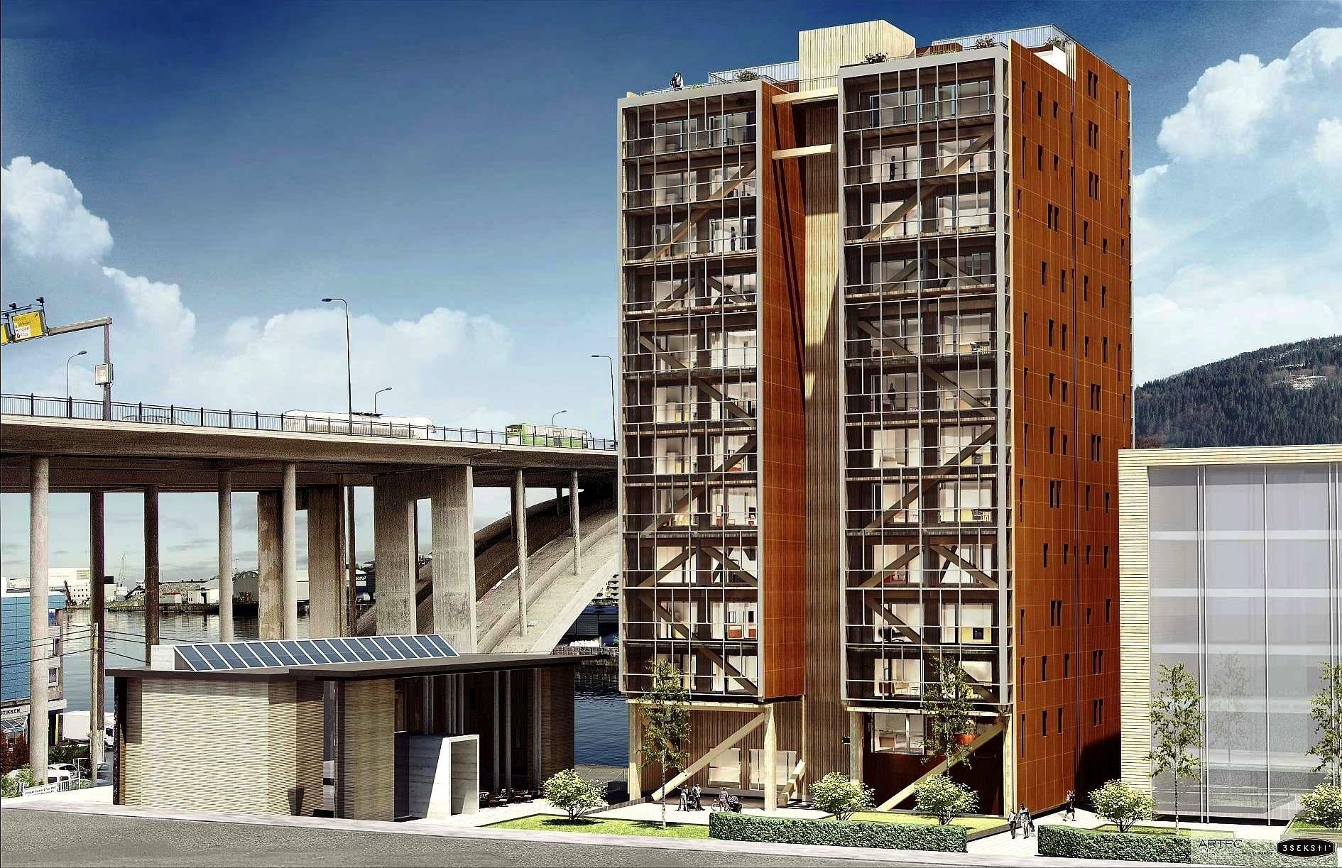 Modell des norwegischen Holzhochhauses Treet in Bergen: Das Haus soll im Herbst bezugsfertig sein und bietet auf 14 Etagen Raum für 62 Wohnungen.