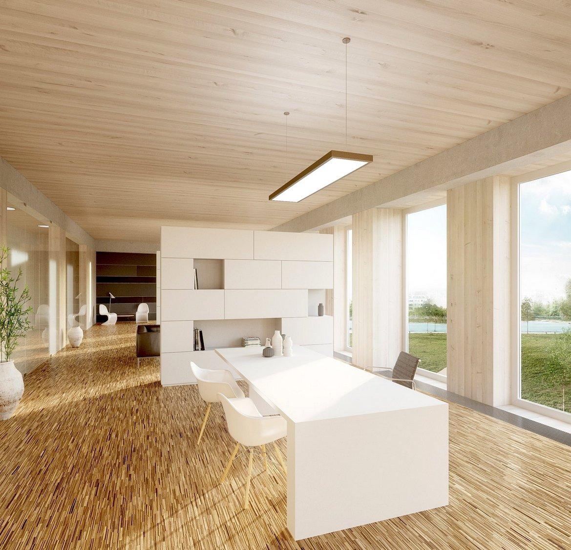 Viel Glas und viel Holz charakterisieren das Wiener Holzhochhaus im Innern.