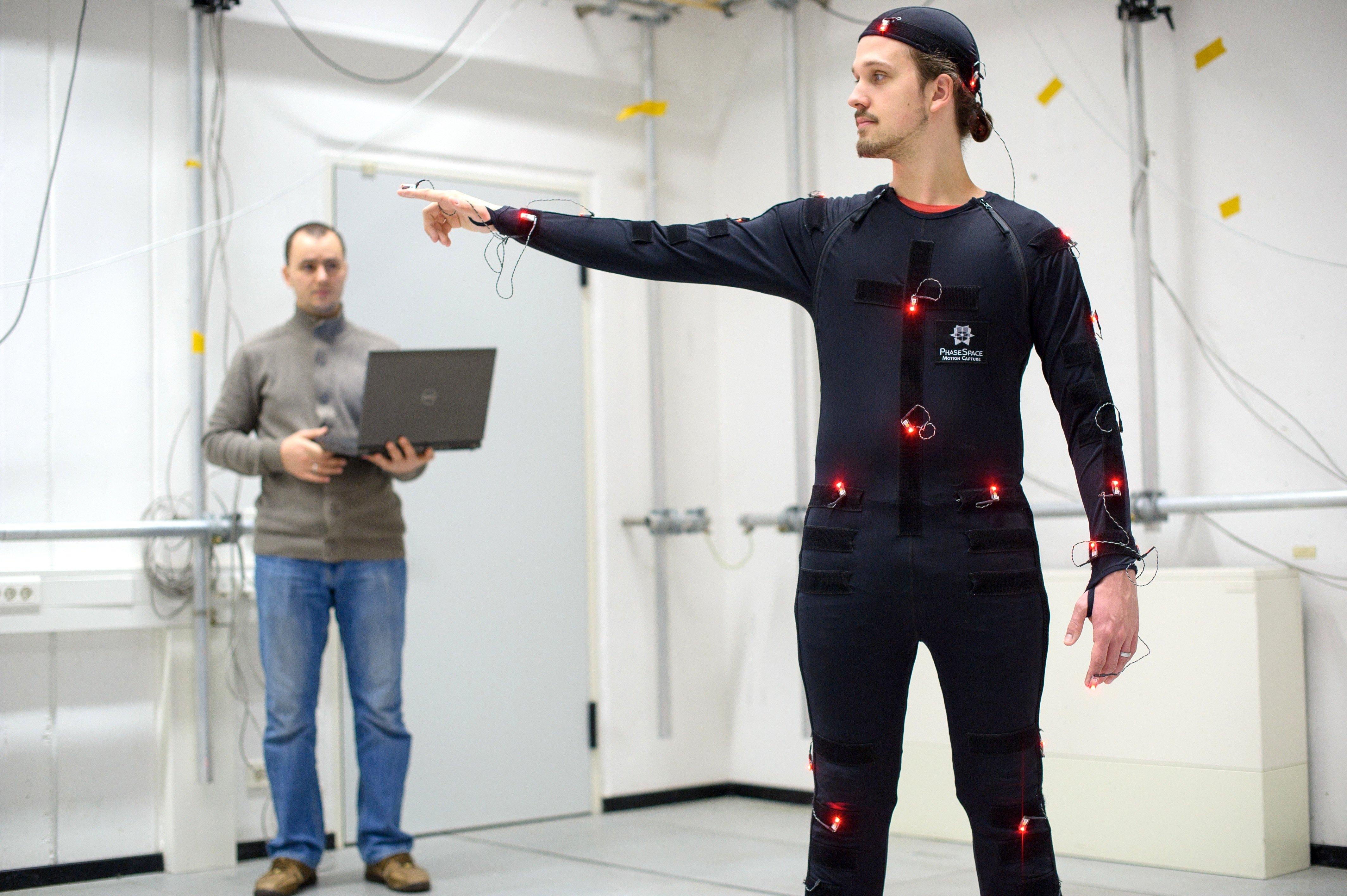 Das Verfahren überträgt die Bewegungen aus dem Motion-Capturing-Verfahren auf ein Modell des menschlichen Körpers.