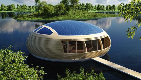 Das recycelbare Hausboot besteht aus Aluminium und Schichtholz und lässt sich mit vier LKW-Ladungen transportieren. Auf dem Dach sind Photovoltaik-Paneele installiert, die die Haustechnik mit Strom versorgen.