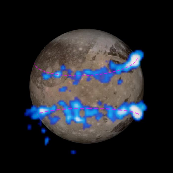 So sah das Bild des Magnetfeldes tatsächlich aus. Die Polarlichtbänder sind blau gekennzeichnet.