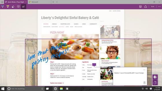 Screenshot des neuen Windows-Browsers Spartan: Er soll im Vergleich zum Internet Explorer deutlich mehr Funktionen haben und sogar über eine Sprachsteuerung verfügen.