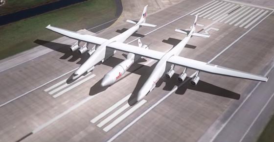 The Roc besteht aus zwei Rümpfen, die über gigantische Flügel mit 117 Metern Spannweite miteinander verbunden sind. Das derzeit größte Flugzeug der Welt, die Antonov An-225, muss sich mit 88,4 Metern geschlagen geben.