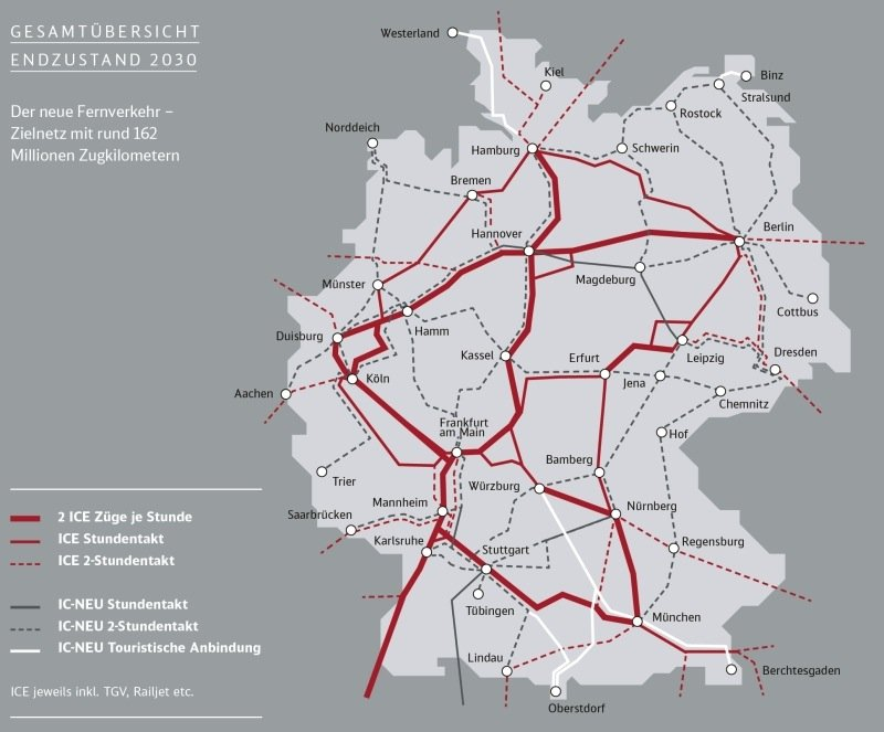 Die Grafik zeigt, wie das Netz für den Fernverkehr der Deutschen Bahn nach dem Ausbau 2030 aussehen soll.