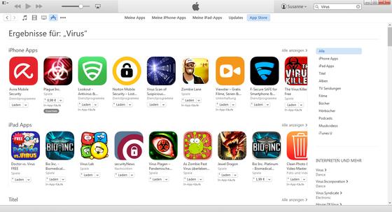 """Zum Stichwort """"Virus"""" werden im App Store vor allem Spiele-Apps gelistet, daneben aber auch einige """"Dienstprogramme"""", die hauptsächlich verlorene Geräte orten und vor Diebstahl schützen."""