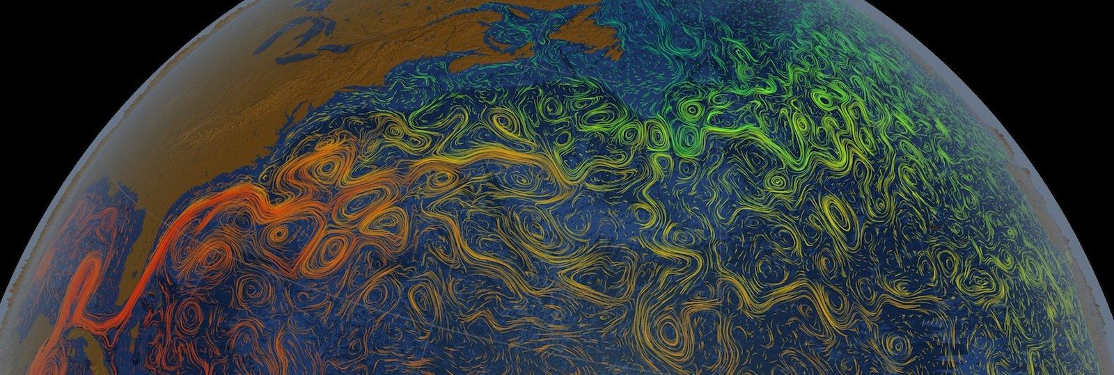 Kein Ausschnitt aus einem Picasso, sondern der Golfstrom: Die Strömung führt warmes Wasser aus den Tropen nach Europa.