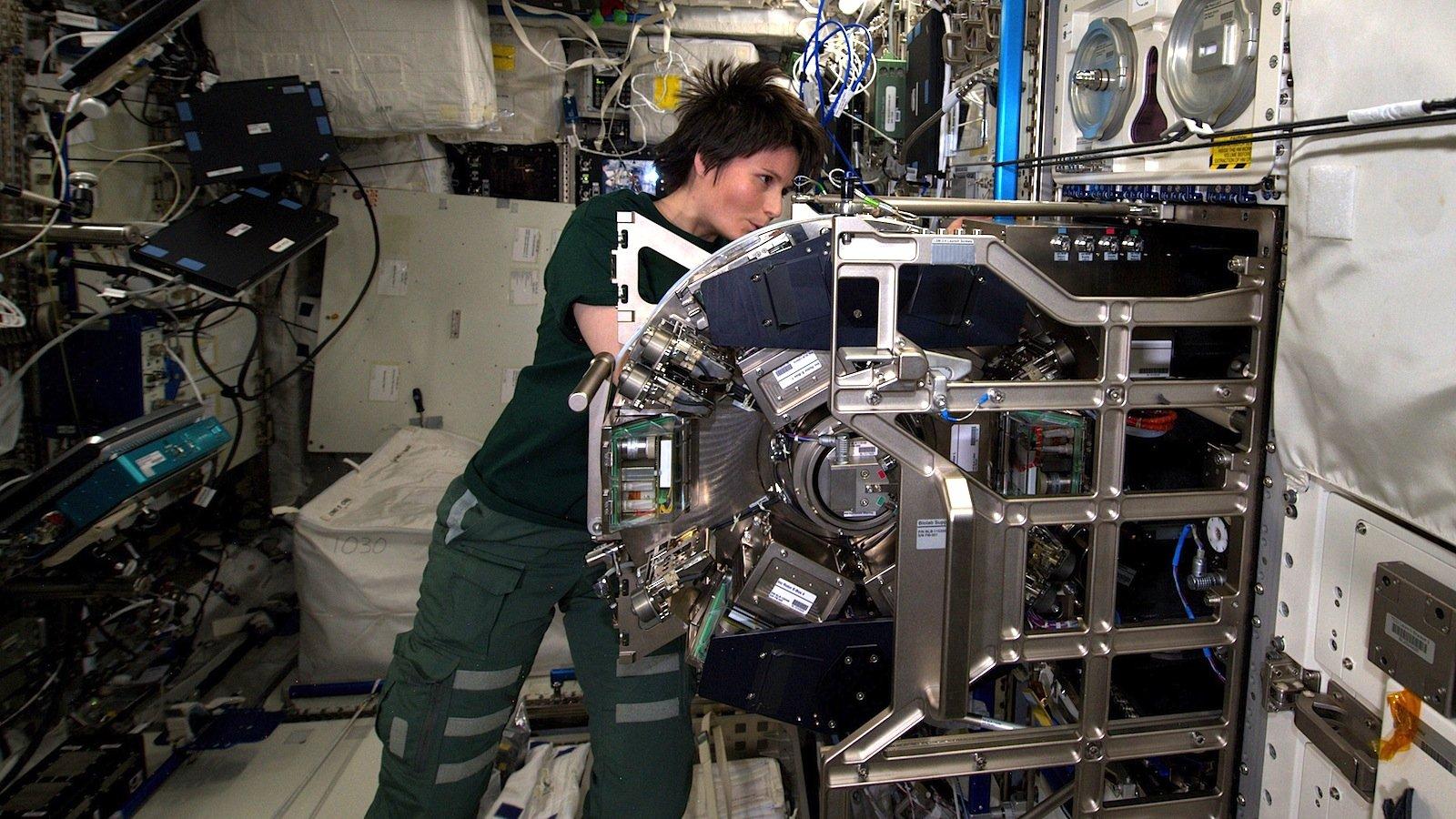 Astronautin Samantha Cristoforetti bereitet auf der Internationalen Raumstation ISS das Biolab für das Experiment Triplelux-B vor. Dabei werden Zellen der Miesmuschel der Schwerelosigkeit ausgesetzt, um die Veränderungen ihres Immunsystems zu untersuchen.
