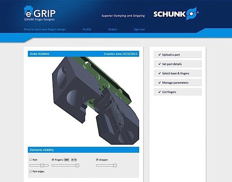 Mit dem 3D-Webtool eGrip können Kunden individuelle Greiferfinger für Montageroboter entwickeln. Das Tool senkt die Konstruktionskosten laut Hersteller Schunk um bis zu 97 Prozent.