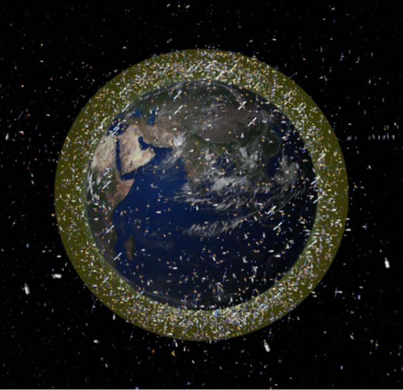 Dichtes Gedränge in der Erdumlaufbahn: Die Darstellung zeigt die Verteilung des umherfliegenden Weltraumschrotts.