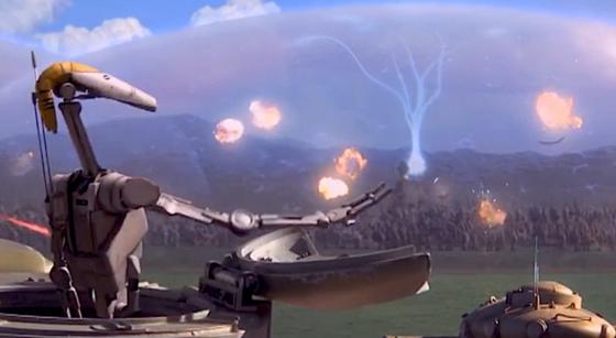 Szene aus dem Film Star Wars – Die dunkle Bedrohung: Raketen explodieren an einem Plasmaschutzschild. Der Wehrtechnikkonzern Boeing hat sich die Idee für ein vergleichbares System patentieren lassen.
