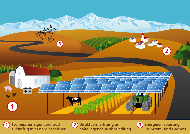 Konzept einer Agrophotovoltaik-Anlage: Sie soll die nachhaltige Landnutzung für Energie und Nahrung ermöglichen.