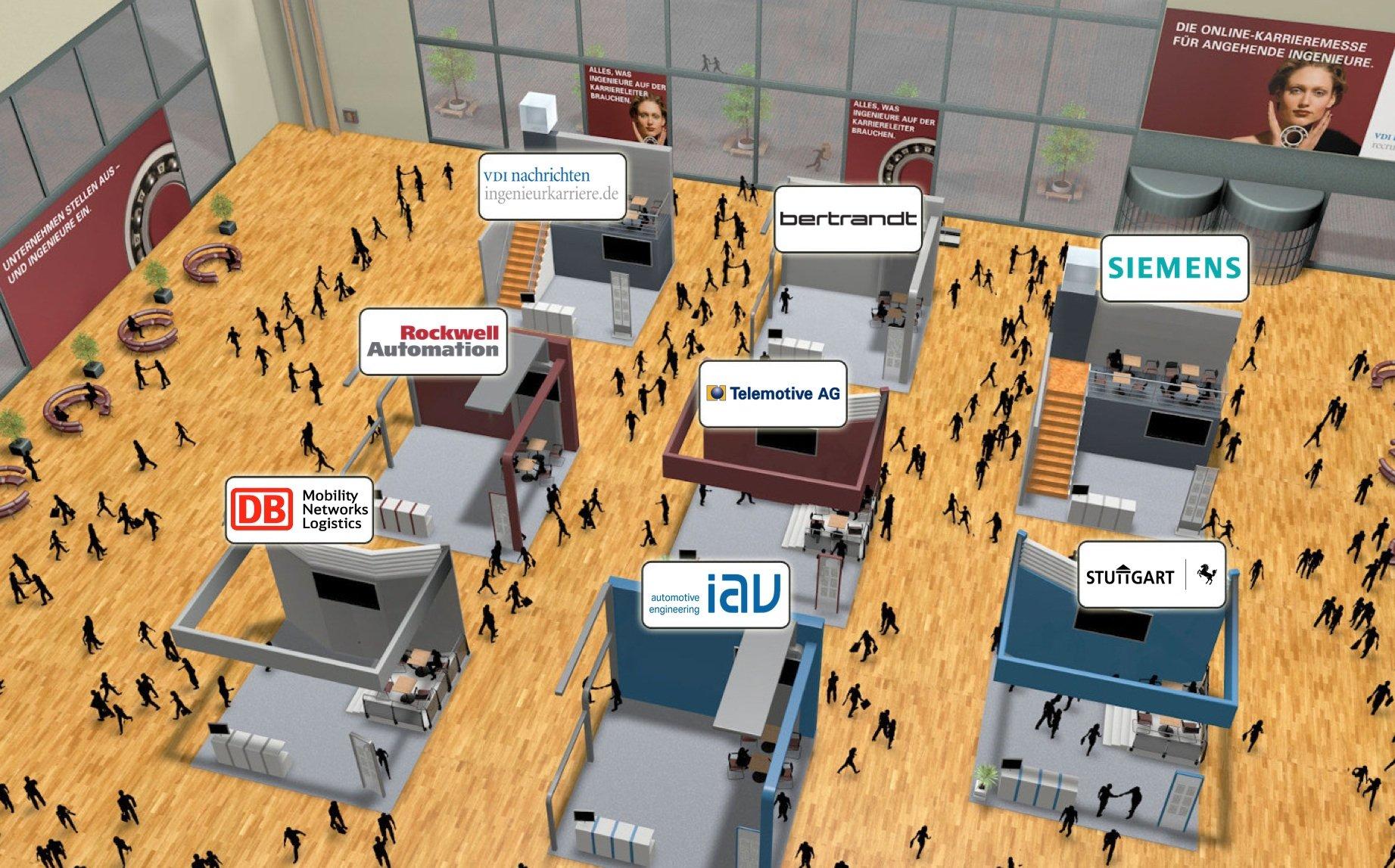 Online-Karrieremesse der VDI nachrichten: Angehende Ingenieure können die Unternehmensstände einfach anklicken, sich über das jeweilige Jobangebot informieren und per Textchat Fragen stellen. Die Online-Karrieremessen für Absolventen finden am 28. April und 10. November statt.