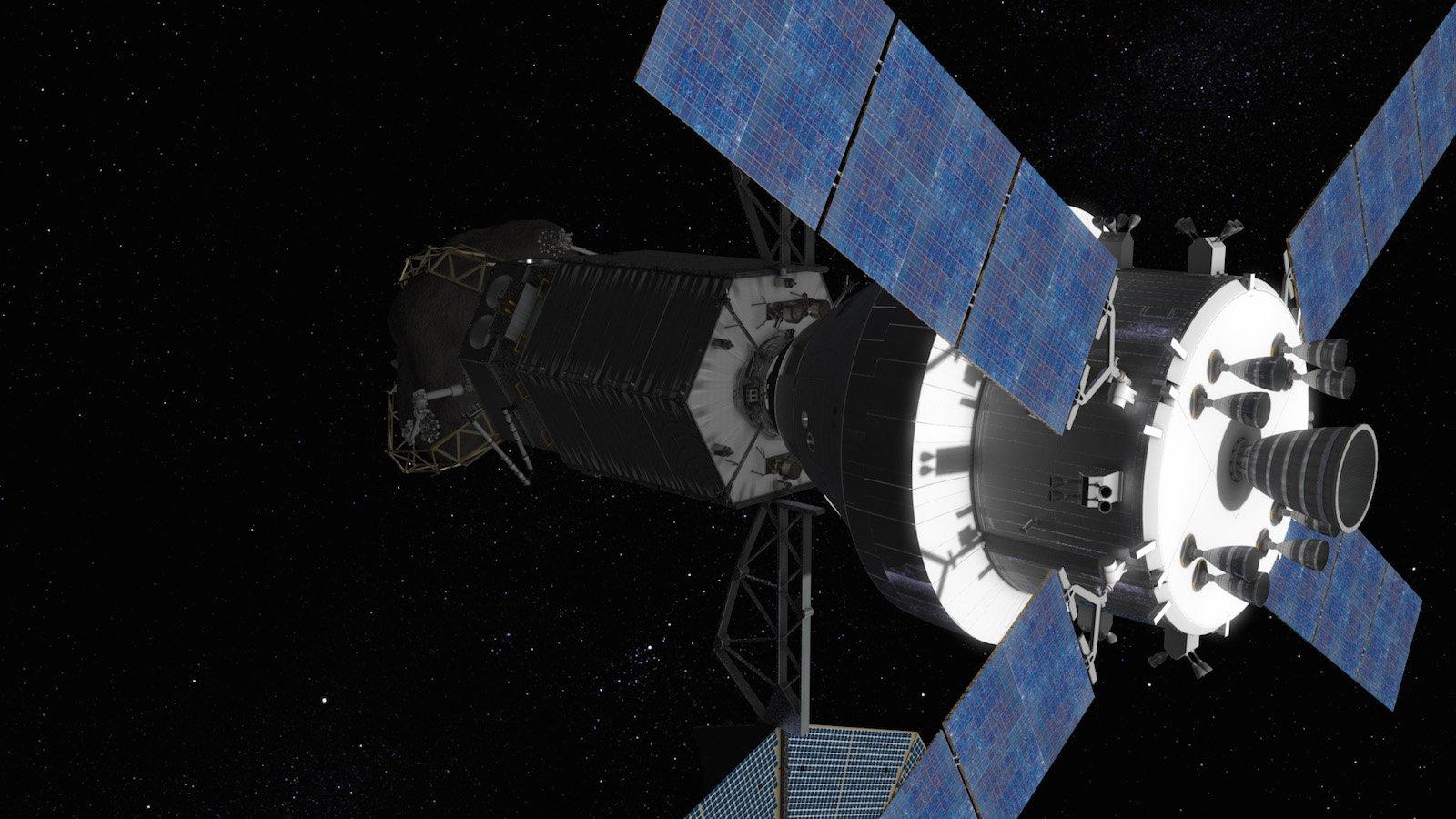 Ein Raumschiff mit zwei Astronauten an Bord dockt an das Asteroid Redirect Vehicle an.