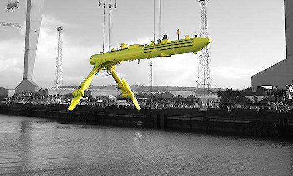 An den Armen des Gezeitenkraftwerks sind die Rotoren befestigt. Wenn es beispielsweise in einen Hafen geschleppt werden muss, werden sie angelegt.
