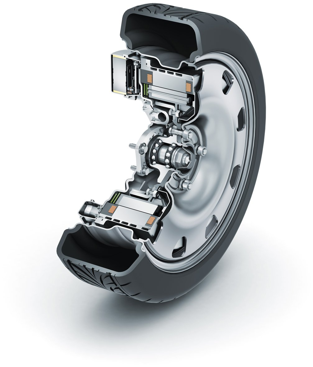Der 2013 von Schaeffler vorgestellte Radnabenantrieb E-Wheel-Drive ist samt Technik komplett in der Felge untergebracht.