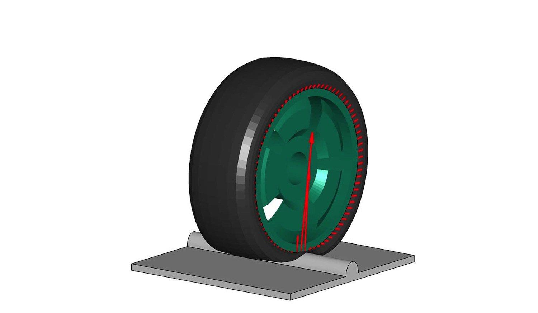 Ein Reifen rollt in der Simulation über ein Hindernis. Die Software berechnet, wie er sich verhält – schneller und genauer als bisherige Reifensimulationen.