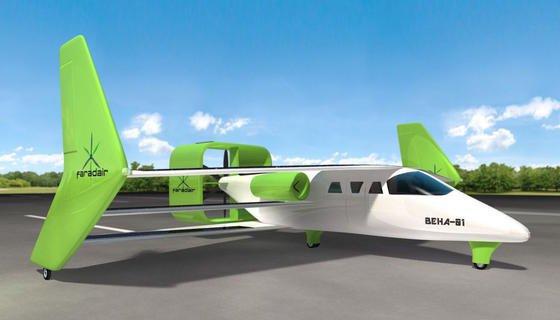 Das Hybridflugzeug Beha ist aus Kompositwerkstoffen gefertigt, die auch in der Formel 1 zum Einsatz kommen. Es erreicht eine Höchstgeschwindigkeit von 320 km/h und eine Reichweite von 1850 Kilometern.