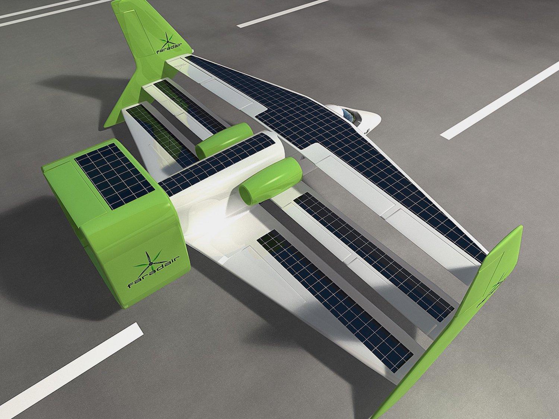 Der Dreidecker ist mit Solarzellen und einer Windturbine ausgerüstet. Dieses erzeugen während des Flugs Strom für die Elektromotoren.