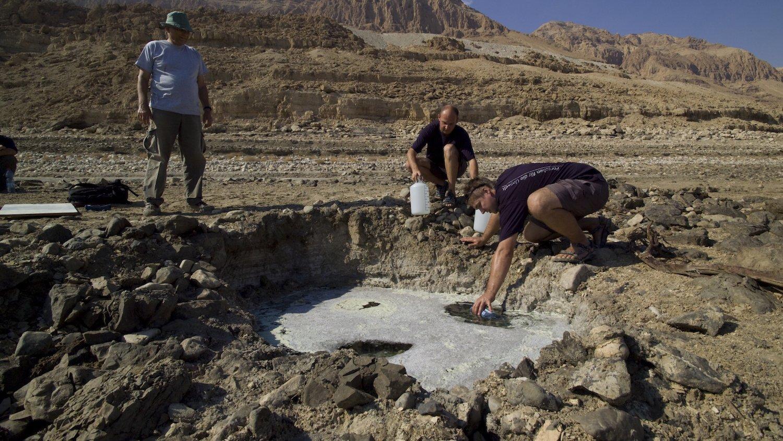 Wissenschaftler des Leipziger Helmholtz-Zentrums für Umweltforschung (UFZ)nehmen Proben in den Sinkholes am Ufer des Toten Meeres. Sie interessieren sich unter anderem für die Grundwasseraustrittsstellen.