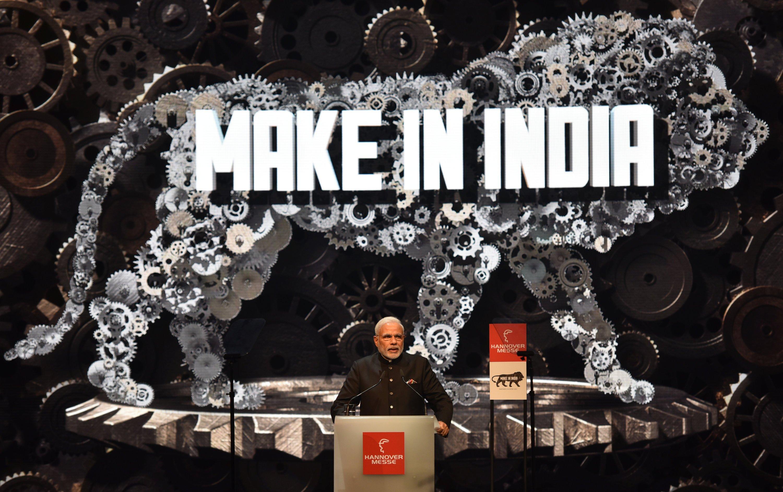 Indiens Premierminister Narendra Modi spricht am 12. April 2015 bei der Eröffnung der Hannover Messe.