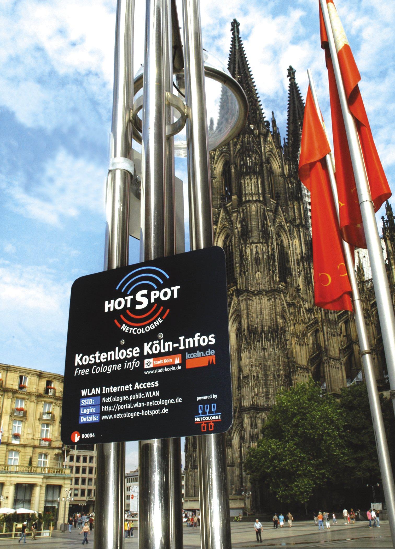 Öffentlicher Hotspot von Netcologne in Köln: Die Bundesnetzagentur befürchtet, dass über die anonymen Hotspots Kriminelle und Terroristen ihre Taten vorbereiten.