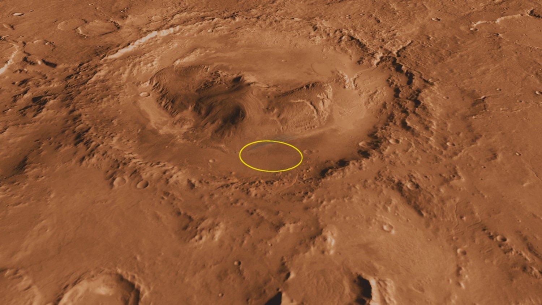 Gale-Krater aus Vogelperspektive: Curiosity hat Sedimentplatten gefunden, die darauf hindeuten, dass der Krater früher ein riesiger See war.
