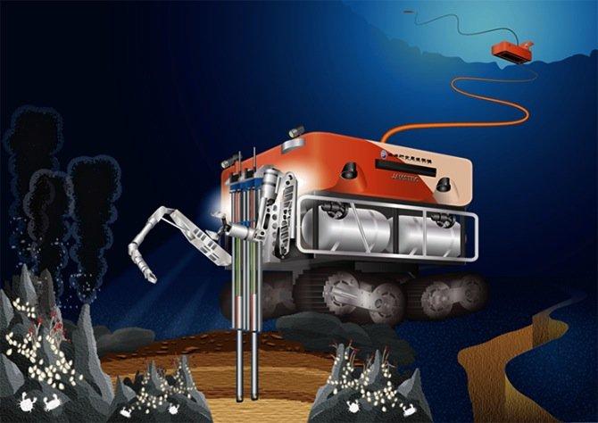 In der Tiefsee Bodenproben zur Entdeckung von Mineralien zu entnehmen und das Unterwasserfahrzeug dazu genau zu navigieren stellt eine extreme Herausforderung dar – nicht zuletzt weil es stockdunkel ist.