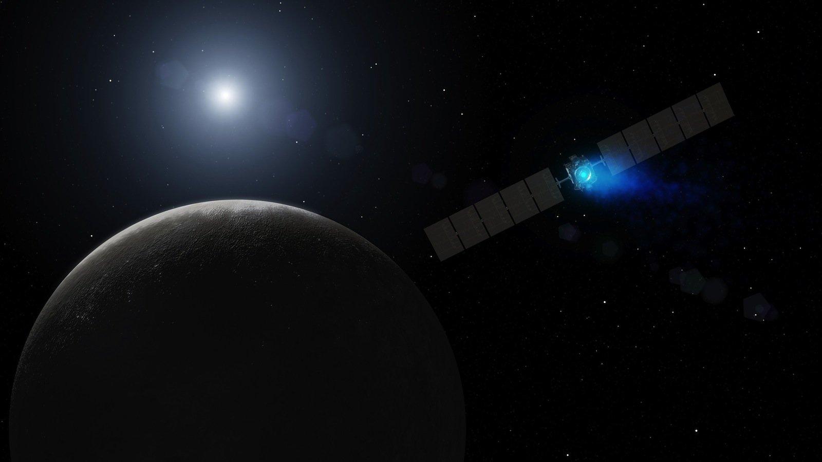 Die amerikanische Raumsonde Dawn startete am 27. September 2007. Am 16. Juli 2011 erreichten sie den Asteroiden Vesta und untersuchte ihn bis zum 5. September 2012. Anschließend flog sie zu Zwergplaneten Ceres. Dort kam sie am 6. März 2015 an. Mit der Dawn-Mission werden zum ersten Mal nacheinander zwei Himmelskörper angesteuert und aus dem Orbit erforscht.