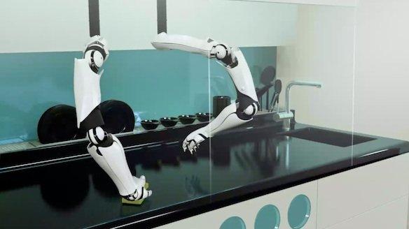 Im Werbevideo putzt der Robo-Chef auch die Herdplatte.