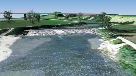 Im malerischen Tal des Flüsschens Loisach bei Großweil in Oberbayern bauen Forscher derzeit einen Prototypen des Laufwasserkraftwerks. Es besteht aus Schächten und lässt sich nahezu unsichtbar in die Landschaft integrieren.